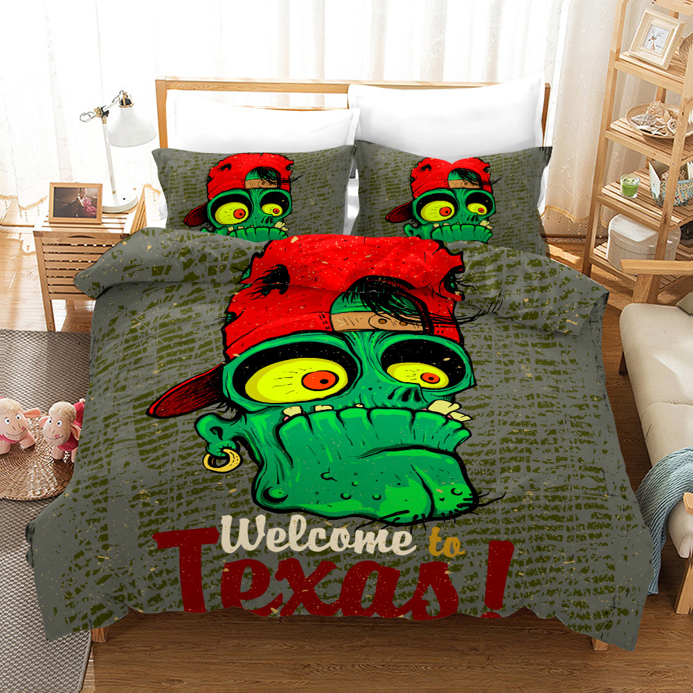 Graffiti Zombie Bedding Set Duvet Covers Pillowcases 3D Print Twin Full King Room Decor Comforter Bedding