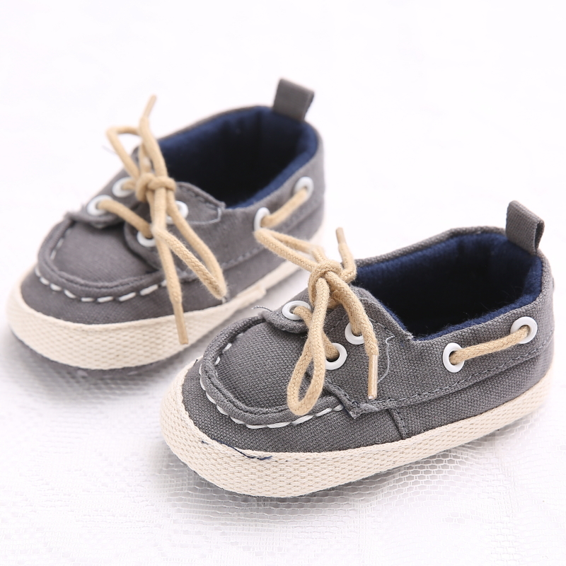 New Born Baby Boy Shoes First Walkers Sneakers Lace-up Cotton Canvas Baby Shoes Sneakers Solid First Walkers 0-18 Month Shoes