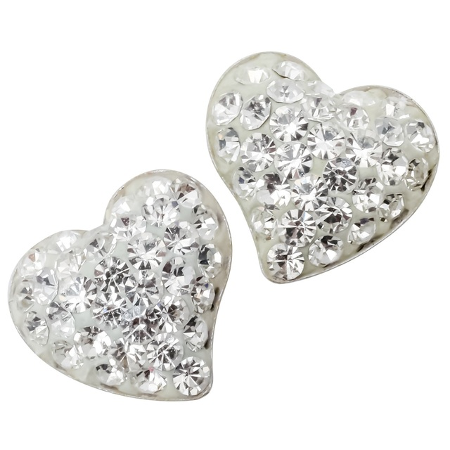 925 sterling silver heart stud earrings crystal valentines day jewelry gifts for women