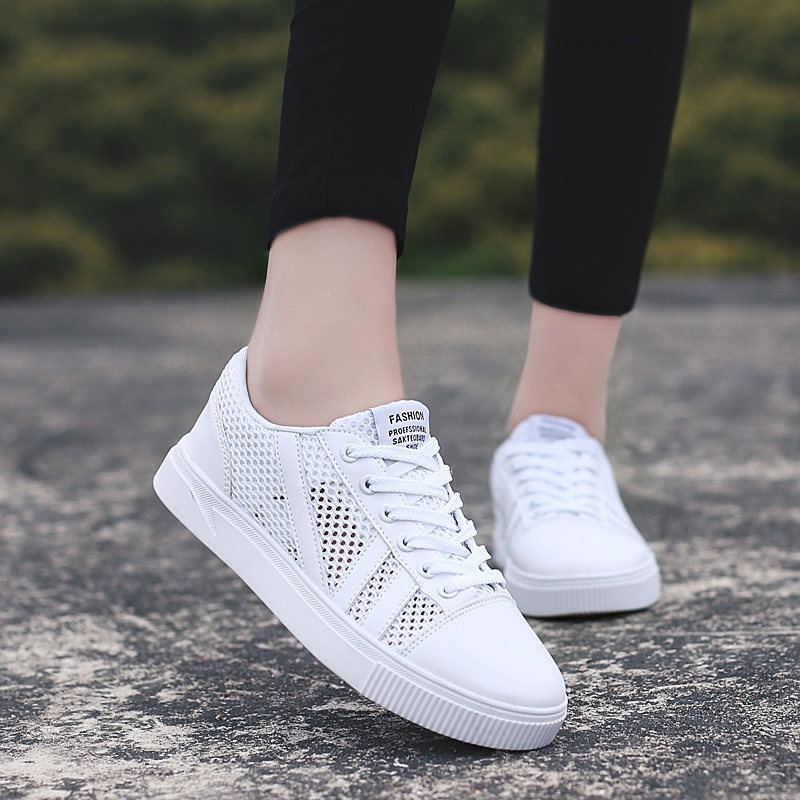 2019 New Women Casual Shoes Breathable Wear Resistant Shoes Comfortable White Round Flat shoes Women 39 s casual shoes 6J686 in Women 39 s Flats from Shoes