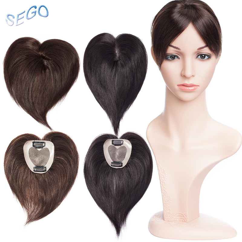 SEGO 6 Inches 7*8 Mono And PU Straight Hair Topper Toupee For Women Pure Color Hair Pieces With 2 Clip-in Non-Remy Hair Pieces