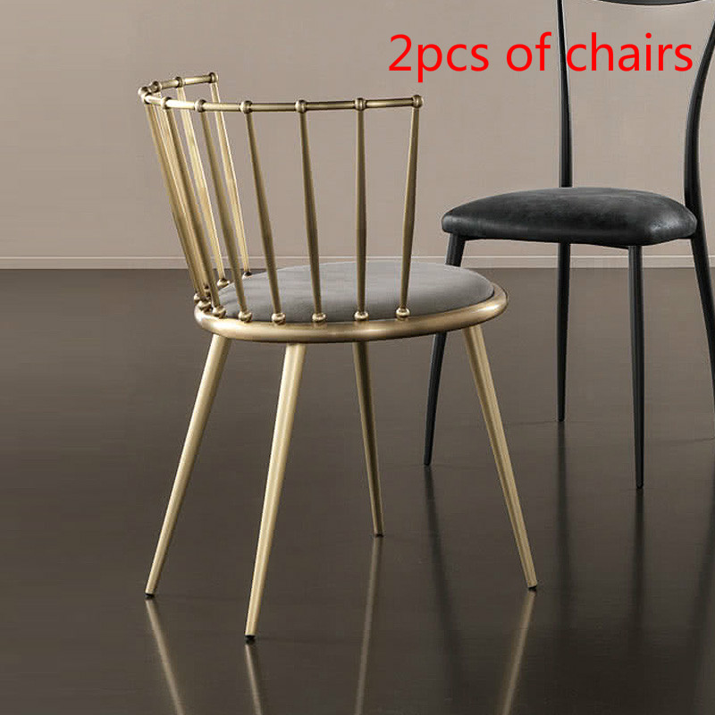 Fantastic Us 150 28 20 Off 2 Pcs Fashion Nordic Gold Iron Chair Modern Design Dressing Table Chairs Metal Steel Chair Makeup Stool Multicolor Mat In Bar Bralicious Painted Fabric Chair Ideas Braliciousco