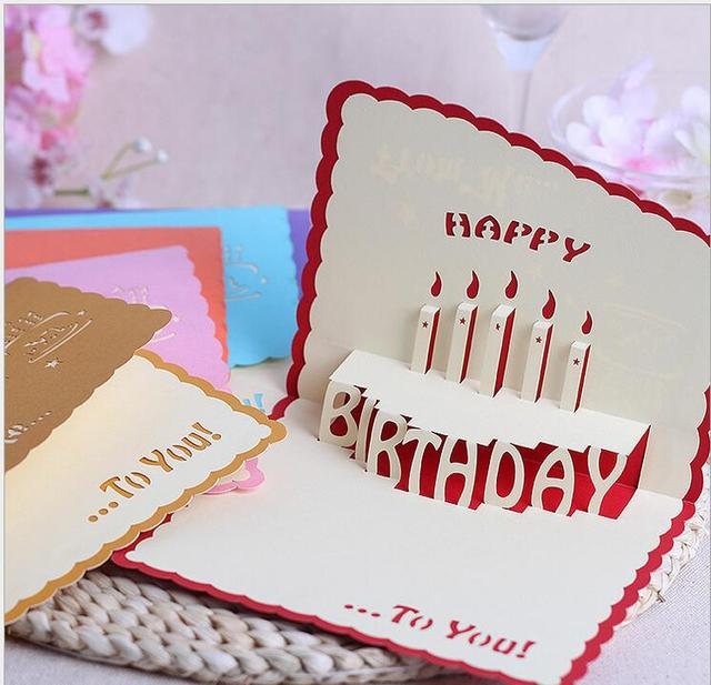 Free Shipping 100 PCS Lot Birthday Card Wholesale Cake Paper Cut Stereo CARDS 3 D CARDSgreeting 138153cm
