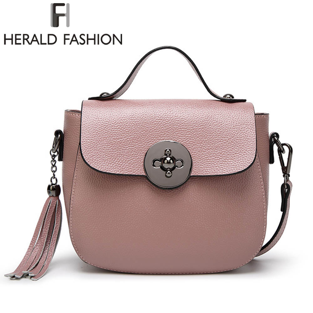 Herald Fashion Genuine Leather Messenger Bag For Women Tassel Shoulder Bags Casual Brand Tote Bag Handbags New Design  Shell Bag new genuine leather bags for women famous brand boston messenger bags handbags tassel tote hand bag woman shoulder big bag bolso