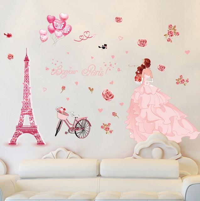 Grote Muurstickers Woonkamer.Us 6 77 Bruiloft Meisje Roze Eiffeltoren Grote Muurstickers Home Decor Woonkamer Slaapkamer Art Decals Wallpaper Verwijderbare In Bruiloft Meisje