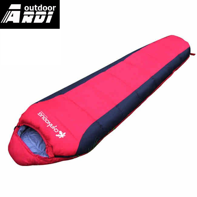 ФОТО Spring and summer outdoor light and warm sleeping bag adult single person camping mummy cotton sleeping bag