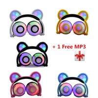 Rechargeabl Glowing Flashing Bear Headphones With 3 Level LED Light Stereo Bear Ears Earphone 90 Degree