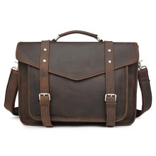 J.M.D New Arrivals Genuine Vintage Leather Brown Color Men Briefcase Handbag Shoulder Bag Fashion Messenger Crossbody Bag 7377R недорого