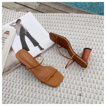 2019 Summer Elegant Women Narrow Band Slides High Heel Slippers Female Peep Toe Wood Block Heel Sandals For Party Shoes Slippers - Camel, 5