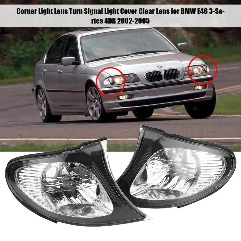 1 Pair Corner Light Lens Turn Signal Light Cover Clear Lens for BMW E46 3-Series 4DR 2002-2005 Left & Right Warning Light Covers