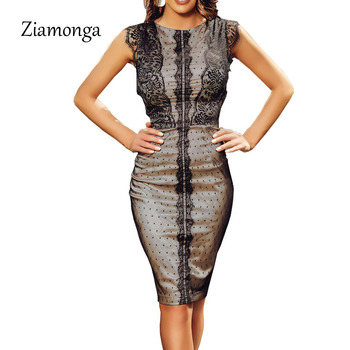 Ziamonga New Bandage Dress Sleeveless Knee Length Pencil Bodycon Lady Work Office Lace Dresses Vestido De Renda Autumn Dress
