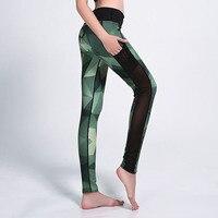 Zomer Mode Sporting Leggings Groene Gradiënt Geometrische Print Vrouwen Fitness Slim Leggins Mesh Insert Casual Workout Broek