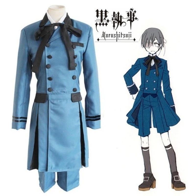 Anime Mens Black Butler Kuroshitsuji Ciel Phantomhive Cosplay Costume Outfit Aristocrat Uniform Full Set Halloween Carnival