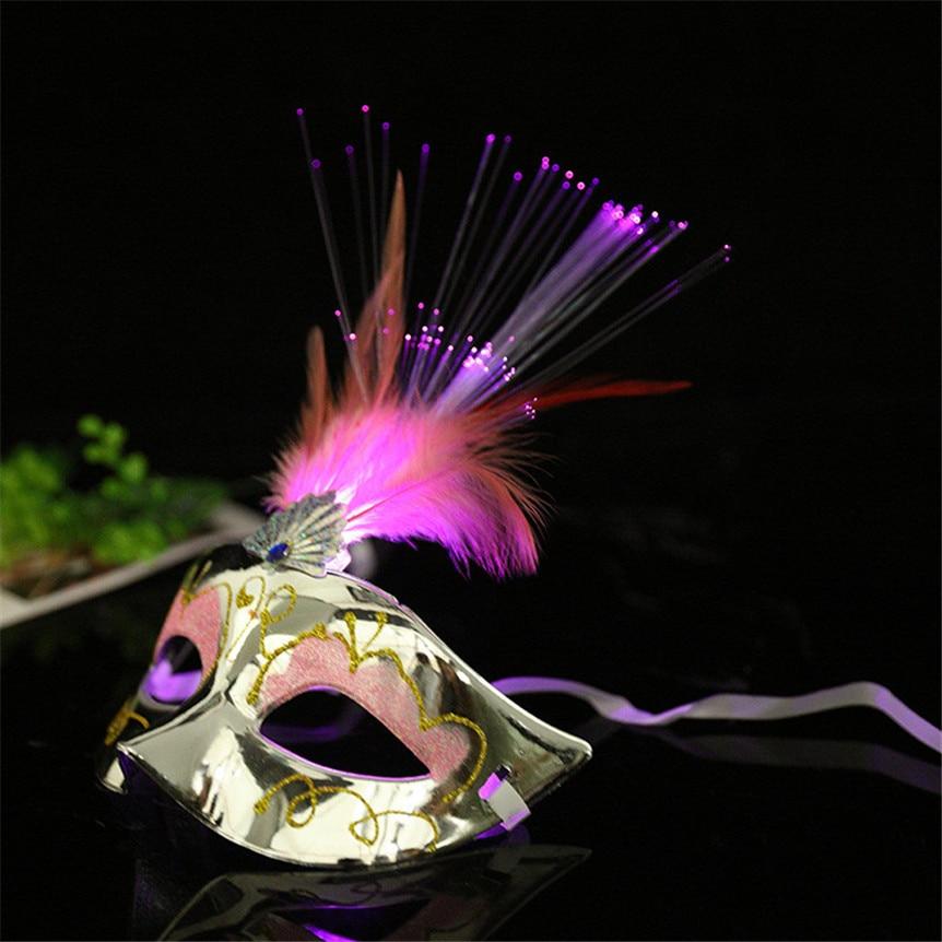 HOT Women Venetian LED Mask Masquerade Fancy Dress Party Princess Feather Masks