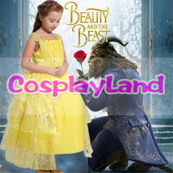 2017 Newest Moive Beauty And The Beast Belle Princess Cosplay Costume Yellow Dress For Kids Party Dress Girls