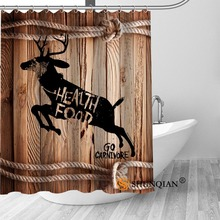 High Quality Custom Wood And Deer Shower Curtain Polyester Fabric Bathroom Hooks Mildew Resistant