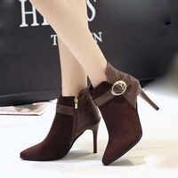 YOUYEDIAN femmes Bottes 2018 mode boucle bottines pour femmes talon mince automne femmes chaussures Super haut talon Bottes Femme