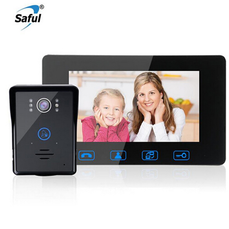 Saful 7 TFT LCD Wired Video Door Phone Waterproof Touch Key Video Intercom with Night Vision Electric Unlock Doorbell for HomeSaful 7 TFT LCD Wired Video Door Phone Waterproof Touch Key Video Intercom with Night Vision Electric Unlock Doorbell for Home