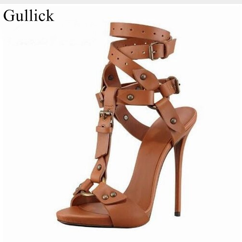Summer Fashion Women Solid Color Brown And Black Ankle T-Strap Buckle Strap Sandals Hot Metal Decoration High Heel Shoes stylish women s sandals with color rivet and t strap design