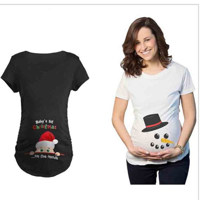 christmas print original pregnant women t shirts maternity tees clothes nursing top pregnancy long tee - Christmas Maternity Shirts