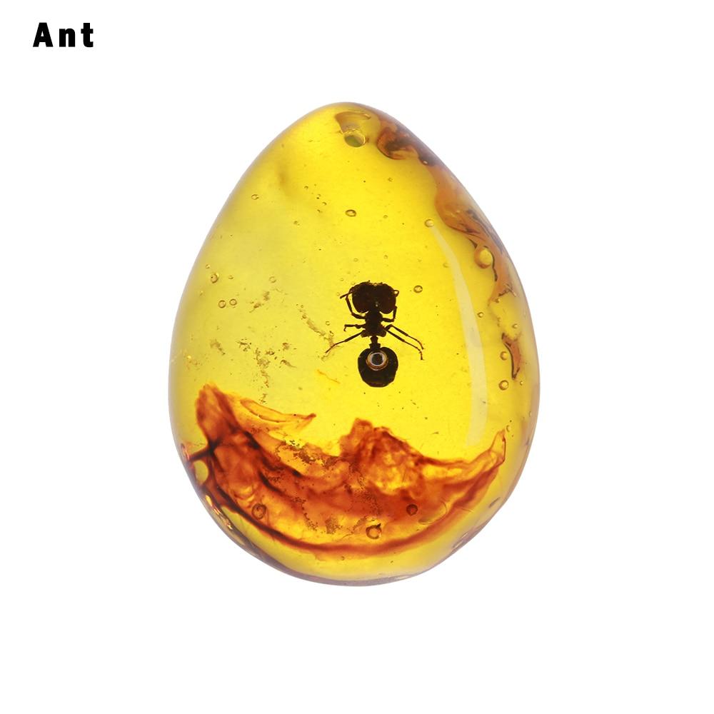 1 шт. модные натуральные насекомые Янтарный каменный орнамент оригинальность скорпионы бабочка пчела краб украшения DIY ремесла кулон подарок - Цвет: ant