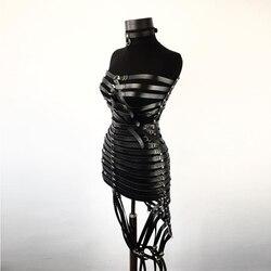 وصل حديثًا لعام 2019 ملابس داخلية مثيرة للنساء من الجلد فستان للنساء بحزام رباط بحزام هاراجوكو قوطي للتعليق بأحزمة بدسم الوثن التأثيرية