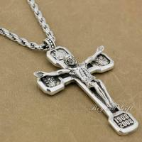 Huge Heavy Jesus Crucifix Cross 92 5 Sterling Silver Pendant Necklace 8A109