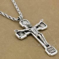 Riesige Schwer Jesus Kruzifix Kreuz 92.5% Sterling Silber Anhänger & Halskette 8A109