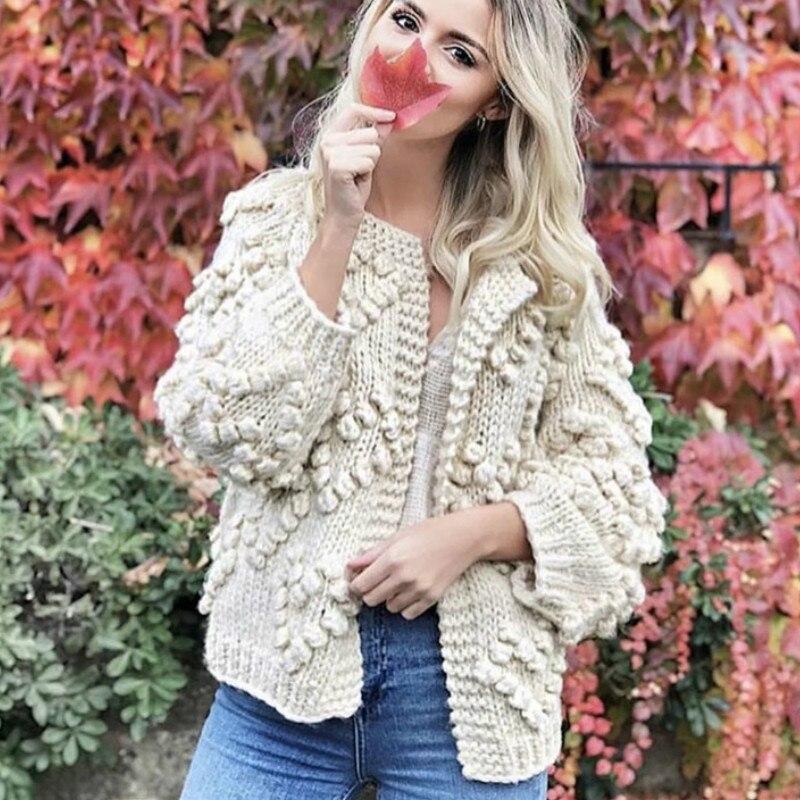Chaqueta de Jersey de ganchillo Lazy Florals para mujer, cárdigans sueltos tejidos a mano, con mangas de linterna, lana gruesa, bolas de hilo en 3D, tejidas las tapas