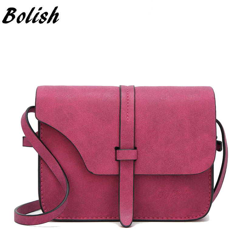 Bolish Fashion Women's Handbag Small Crossbody Bags Vintage Spring Female Shoulder Bag Nubuck Leather Women Bag