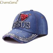 Envío gratuito Snapback I LOVE JESUS Rhinestone remache Denim Jeans gorras  de béisbol mujeres hombres Hip Hop sombrero 80503 Dro. eba7d908254