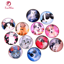 24pcs 12-20mm Lovely Dog and Cat Pattern All In Paris Photo Glass Cabochons & Glass Dome DIY Handmade Cabochon bead Settings