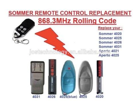 -fernbedienung Selbstlos Sommer Fernbedienung Ersatz 868,3 Mhz 4020 4025 4031 Rolling Code Ein BrüLlender Handel