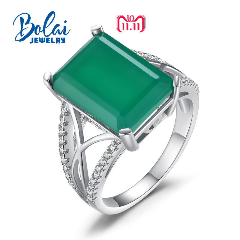 bolai,Big gemstone Ring with natural green agate in 925 sterling silver grace and nobility gemstone jewelry for women best gift ethnic wind bracelets men and women decorations green agate 925 silver ball duobao string original jewelry