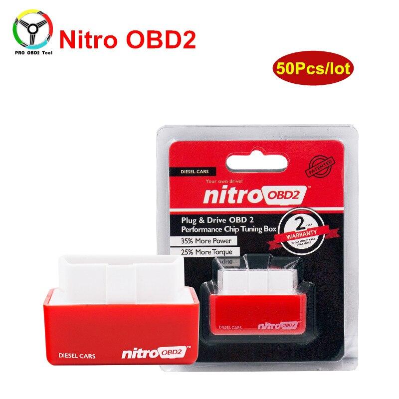 50 шт./лот Nitro OBD2 подключи и Драйв NitroOBD2 производительности чипа настройки окна для дизельных автомобилей OBD 2 OBDII чип-тюнинг коробка