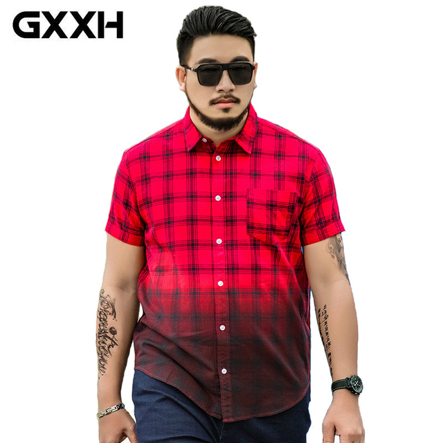 Gxxh Plus Size Cotton Mens Shirts 2017 Spring Summer Casual Red And