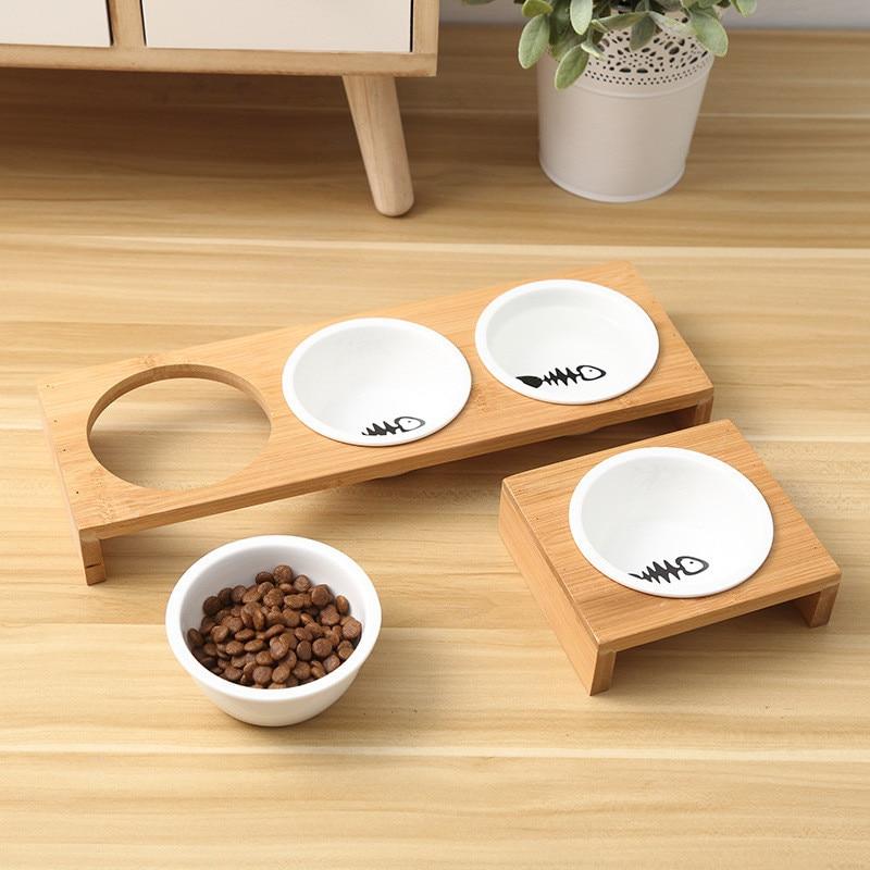 Fashion Cat Dog Feeders Bowls Bamboo Tableware Ceramic Pet Food Water Bowl High Grade Anti Skid Pet Supplies Dog Cat Bowl