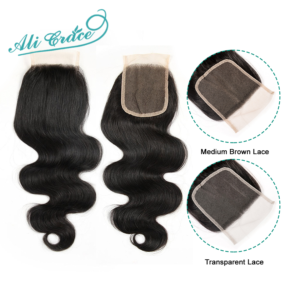 Ali Grace Brazilian Body Wave Closure 4*4 Transparent Lace Color Hand Tied Remy Human Hair Brazilian Lace Closure