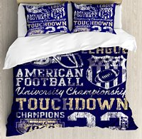 Sports Duvet Cover Set Queen Size Retro American Football College Illustration Athletic Championship Apparel Purple White