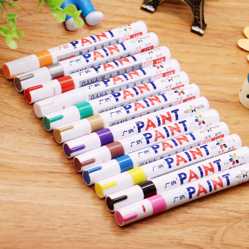 Image 4 - Car shape colorful waterproof pen car tire tire tread metal permanent paint mark graffiti oily marker-in Car Stickers from Automobiles & Motorcycles
