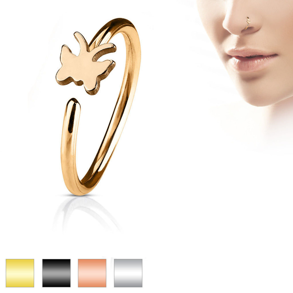 Cartilage Ring CZ Butterfly Bendable Nose Hoop