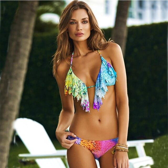 New Arrival Hot Sexy Ruffle Bikini Women Bohemian Style Bikini Swimsuit Colorful Printed Swimwear For