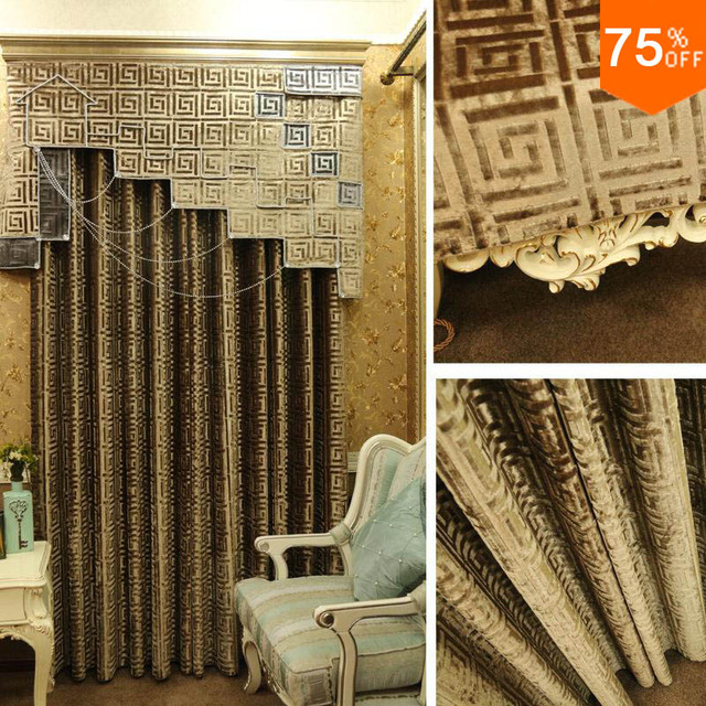 Velvet Embroidery Curtain geometry pattern cube pattern Round with ...