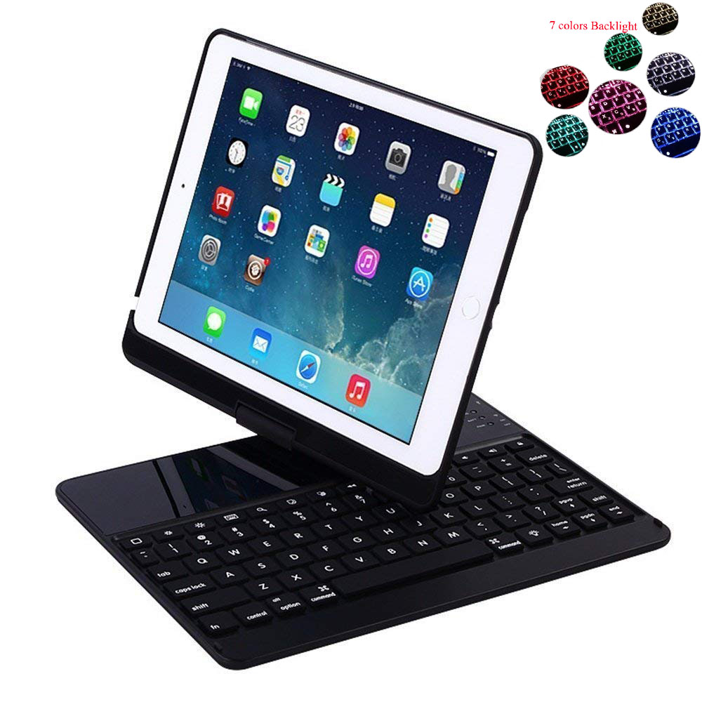 For iPad 9.7 2017 2018 6th 7 Colors Backlit Light Wireless Bluetooth Keyboard Case Cover For iPad Air / Air 2 / Pro 9.7+Film+Pen защитная плёнка прозрачная deppa 61911 для ipad pro 9 7 ipad air ipad air 2 0 4 мм