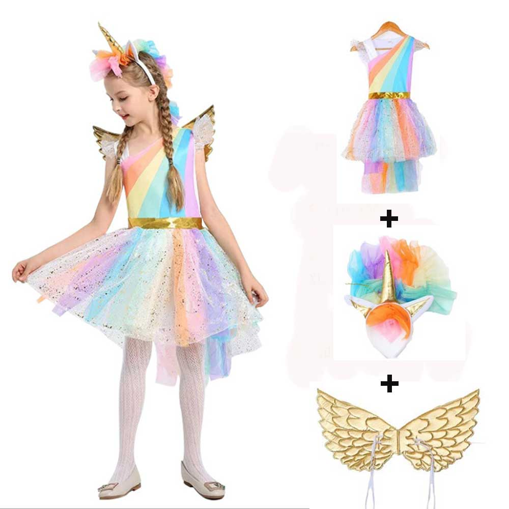 4-12Y Girls Unicorn Fancy Dress With Hair Hoop Wings Rainbow Sequined Tutu Wedding Party Dress For Kids Costumes