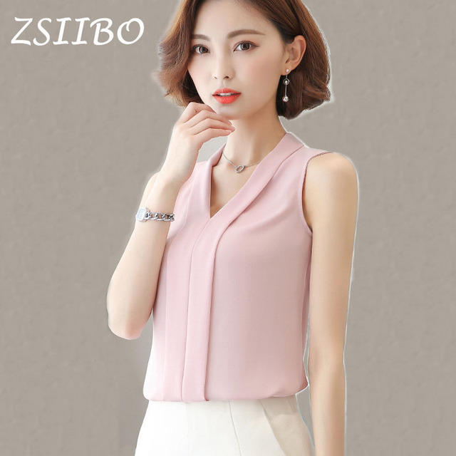 f5d836256e7 Korean style Fashion Women Chiffon Blouses Ladies Tops Female Sleeveless  Office Lady White Shirt Blusas Femininas Women Clothing