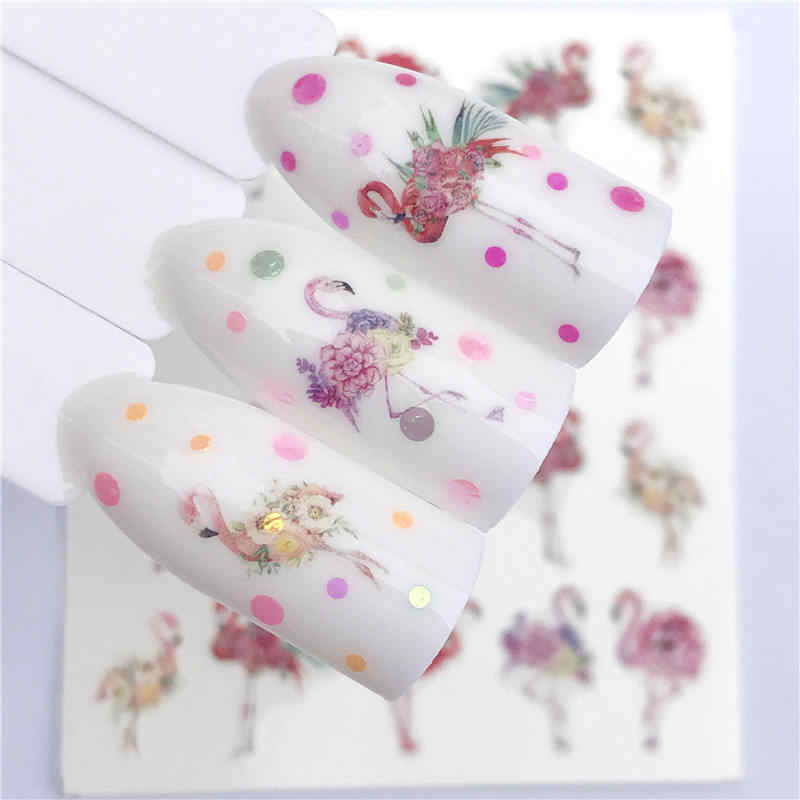 WUF 2020 yeni tasarımlar kurt/vintage/flamingo asil kolye Nail Art su çıkartmaları transferi Sticker manikür tırnak dekorasyon DIY