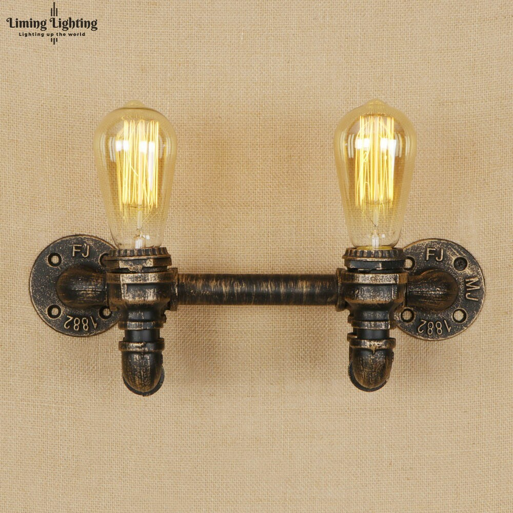 2 Heads Vintage Iron Minimalist Creative Wall Lamp E27 LED Water Pipe Retro Sconce Lights For Bedroom Living Room Cafe Hallway2 Heads Vintage Iron Minimalist Creative Wall Lamp E27 LED Water Pipe Retro Sconce Lights For Bedroom Living Room Cafe Hallway