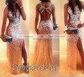 Shinning Sexy платье-де-феста V-образным Вырезом Танк Кристалл Бисероплетение Шампанское Элегантный abendkleider Линии Пром Платья Настроить