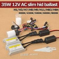 איכות גבוהה 35 W 12 V AC HID ערכות קסנון הנורה 3000 K 4300 K 5000 K 6000 K 8000 K H1 H3 H7 H8 H9 H11 9005 9006 + Slim נטל קסנון